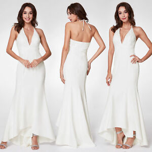 Ever-Pretty-White-Wedding-Dress-Long-Backless-V-neck-High-Low-Halter-Party-Gown