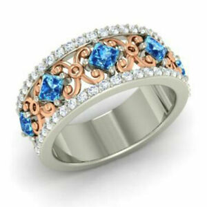 1.40 Ct Real Diamond Wedding Band 14K Solid White Gold Blue Topaz Ring Size L M