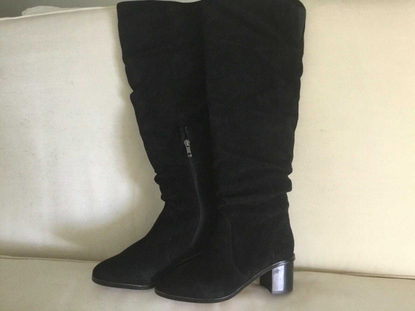 French Connection Clementine Suede Black Boot Zip 8 M New Over Knee Stack Heel