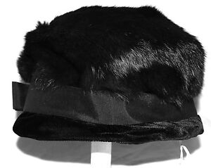 Vintage 1960 s Black Rabbit Fur   Velvet Womens Bucket Hat w  Bow Sz ... a4e42da45076
