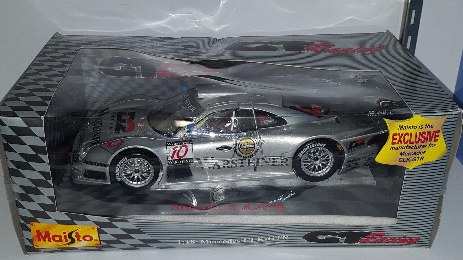 1 1 1 18 Maisto Gt Racing Mercedes-Benz CLK-GTR Plata  10 con calcomanía 4b080b