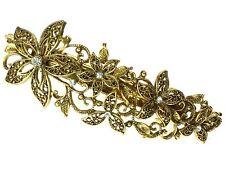 Gold Vintage Filigree Floral Barrette Hair Clip Slide Hair Accessory