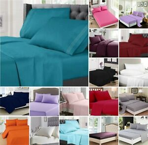 Super King Size King Double New Full Flat  Bed Sheets 100/% Poly Cotton Single