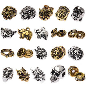 Handmade-DIY-Making-Buddha-Lion-Owl-Fox-Head-Alloy-Beads-Animal-Bracelet-10-PCS