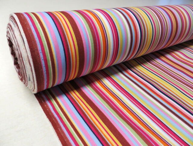 Pinks CANDY STRIPE/MEXICAN BLANKET Cotton Fabric beach summer multi colour 1m
