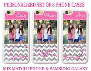 premium selection a1122 55f69 Details about PERSONALIZED PHOTO PINK CHEVRON BEST FRIEND CUSTOM 3 CASES  FOR iPhone X 8 7 6 SE