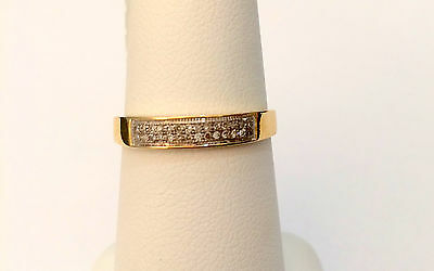 Double Rows Ladies Ring Diamonds Anniversary  Wedding Band Micro Pave White Gold