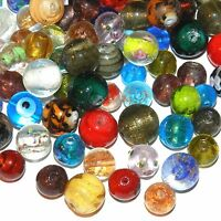 G4144f Assorted Color Beautiful Lampwork Glass 11mm-15mm Round Beads 30/pkg