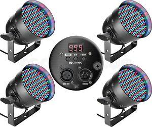 4x-Cameo-LED-Par-56-Scheinwerfer-RGB-DMX-Licht-Effekt-DJ-Party-Light-schwarz-NEU