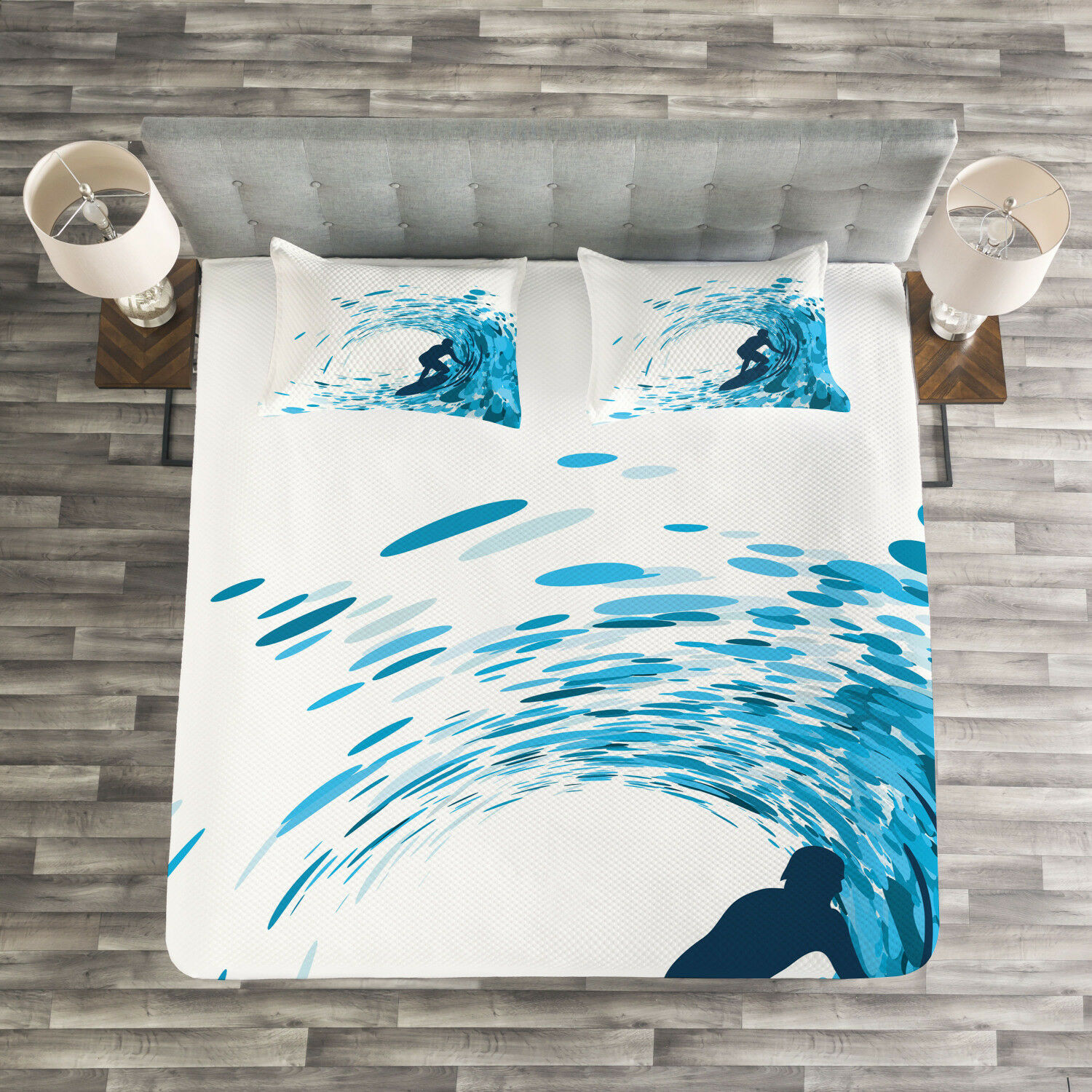 Ride The Wave Quilted Bedspread & Pillow Shams Set, Huge Wave Athlete Print