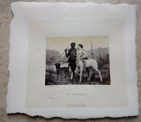 $ 800 Foto Litografia Stampa Goupil & Cie Les Centaures Femme Blanc Homme Noir