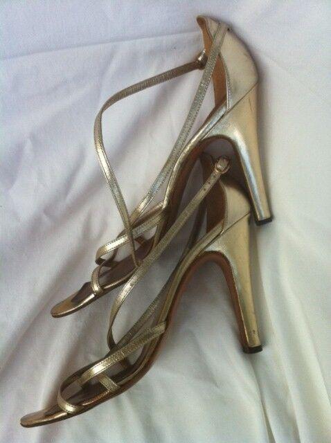 Sandaleetten, goldenes Leder,  High Heels, 11 cm,  Gr. 39 1/2,  getragen
