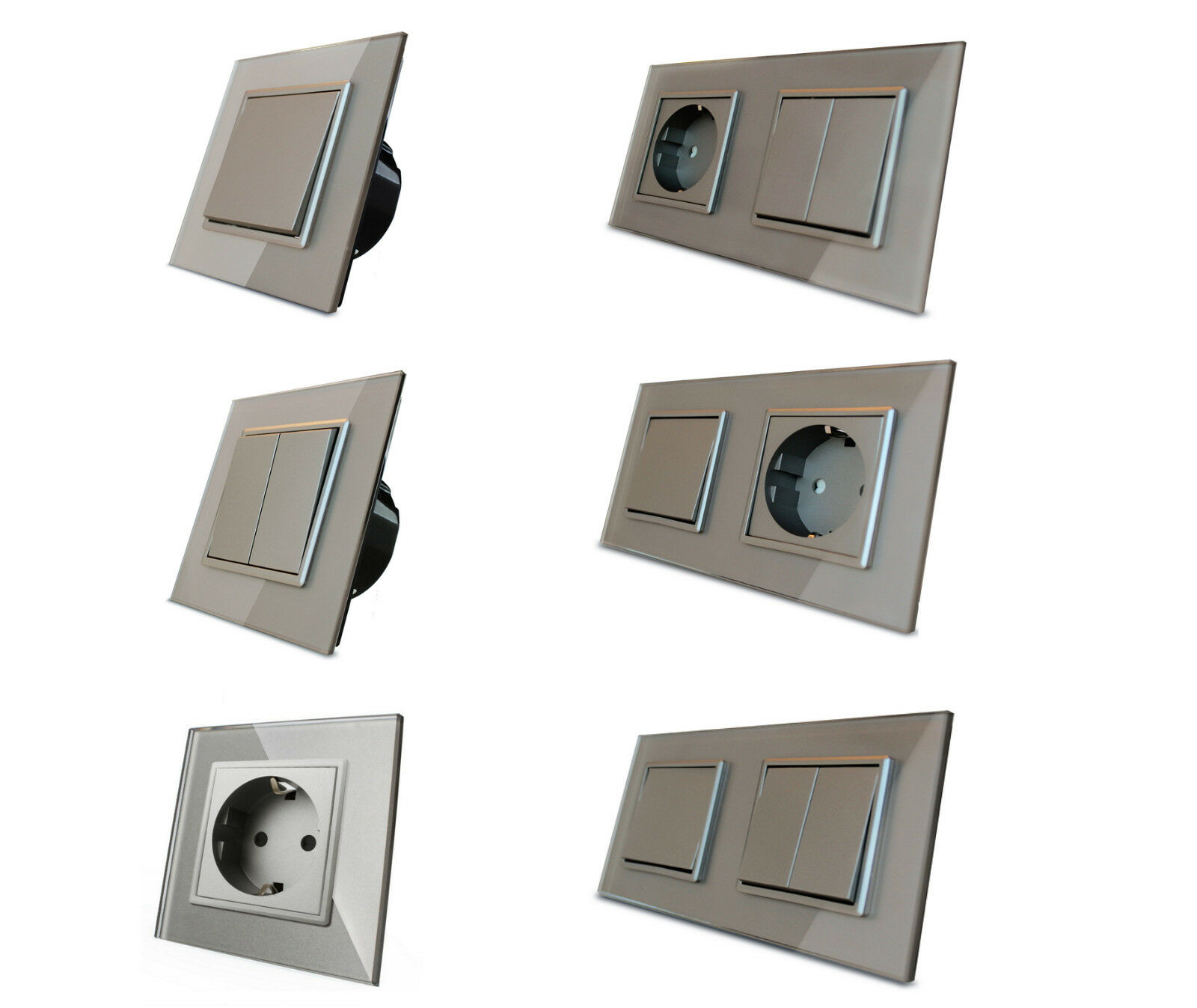 LIVOLO Design Lichtschalter Wandschalter Wippschalter Kippschalter Glas Grau  | Queensland