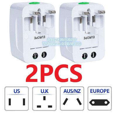 2PC US to EU Europe /& Universal AC Power Plug Travel Adapter Converter Worldwide