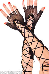 Lace-Up-Fingerless-Design-Gothik-Black-Fishnet-Long-Stretchy-Gloves-S-M