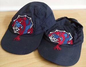 7529108c4c5b6 2 x VINTAGE SPIDERMAN CAPS HATS BOYS M S AGE 4-14 YEARS CAP HAT NAVY ...