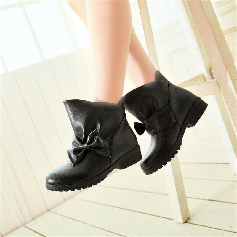 Women's Ankle Boots Chunky Heels Bowknot Round Toe Leather Fashion shoes Pull on