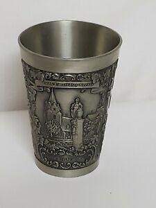 Vintage-Zinn-Becker-Pewter-Cup-95-Zinn-3-panel-engraving-3-1-4-034-tall-5oz