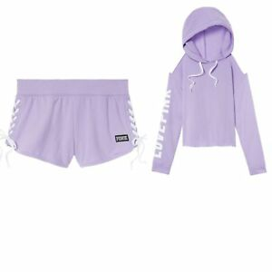 aa03a26f28370 Details about New Victoria's Secret PINK Cold Shoulder Pullover Hoodie &  Lace-up Short Set