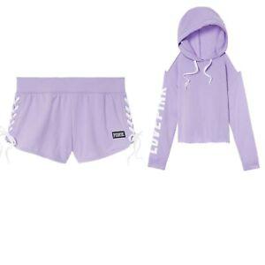 New Victoria's Secret PINK Cold Shoulder Pullover Hoodie & Lace-up Short Set