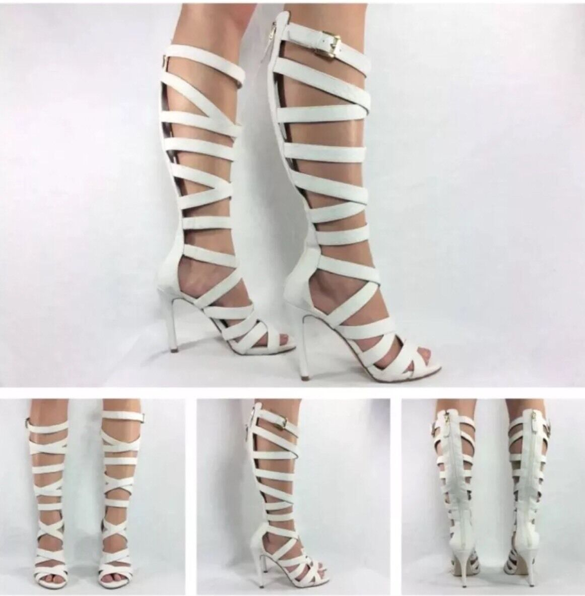 Guess NEW Chrina White Snake Knee High Strappy Gladiator Heels Sandals Sz 6