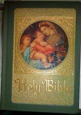 Holy Bible 1953 Marian Commemorative Catholic Family Rosary Illustrated Green HC