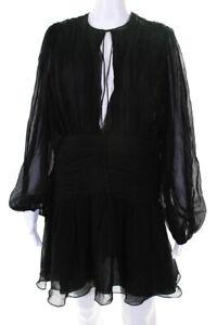 Saint-Laurent-Womens-Mini-Mousseline-Crepe-Dress-Black-Silk-Size-FR-40