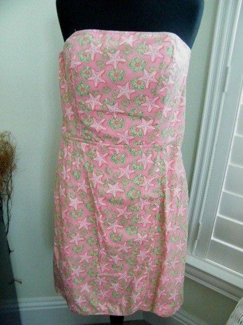 VINEYARD SHEP & IAN NWOT PINK & GREEN STRAPLESS NAUTICAL PATTERN DRESS SIZE 8