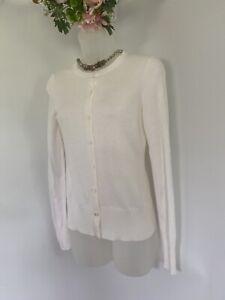 Ann-Taylor-Loft-White-Women-039-s-Sweater-Cardigan-Size-XS-Light-Cotton-Blend-EUC