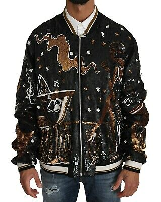 DOLCE & GABBANA Jacket Black Music Jazz Crystal Bomber EU60 / XXL RRP $16000