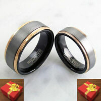 Tungsten Rose Gold Silver Wedding Band 2-ring Set His & Hers Engraving Available