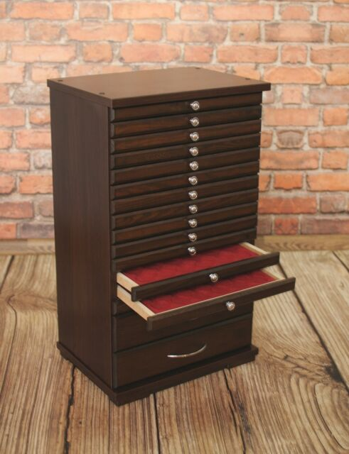 COIN TRAY COLLECTION CABINET FOR 14 TRAYS COLLECTOR- Made of furniture board