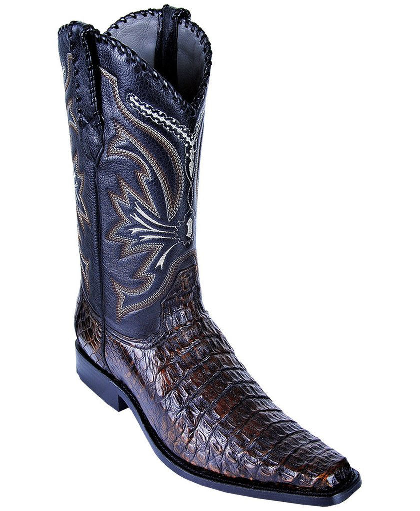 LOS ALTOS BROWN GENUINE CAIMAN CROCODILE WESTERN VERSAGE SQUARE TOE BOOT D