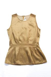 Carolina Herrera Womens Silk Sleeveless Scoop Neck Blouse Golden Size 8