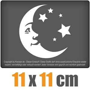 Luna-y-estrellas-de-11-x-11-cm-JDM-decal-sticker-coche-car-blanco-discos-pegatinas
