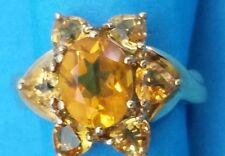 333 Gelbgold Damen-Ring mit ovalen & 6 Herzform Goldzitrin Steine  8 Karat NEU