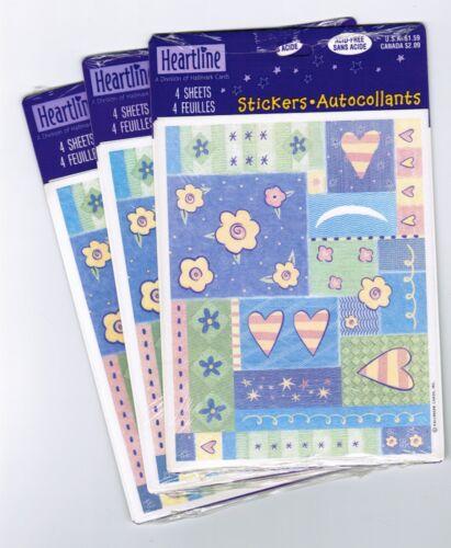 3 Packs 12 Sheets Pastel Flowers Hearts Stars Hallmark Scrapbook Stickers!