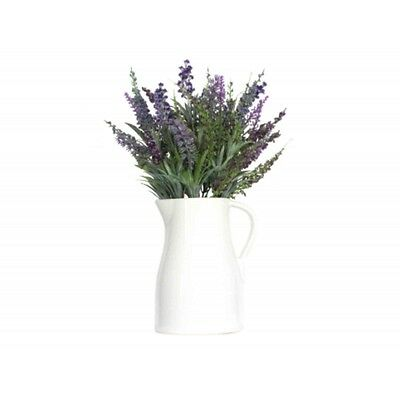 Country Chic White Ceramic Jug with Artificial Lavender Flowers by Gisela Graham