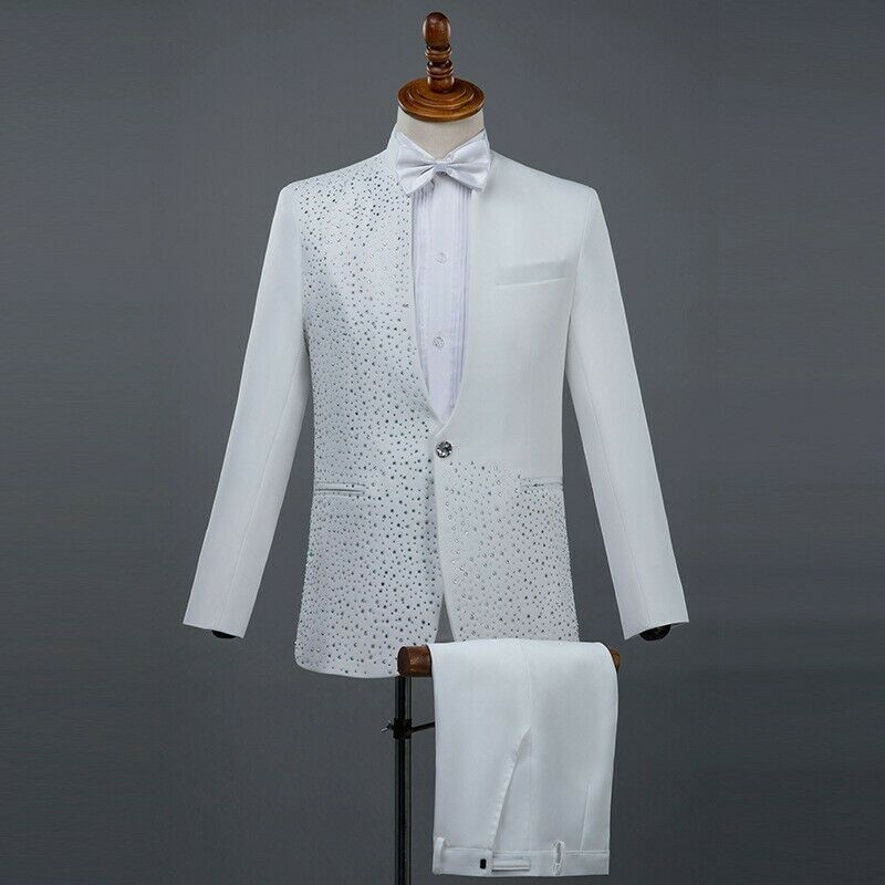 Mens Kostüm Tuxedo Hosen Set One One One button Suit Crystal Outfit Groom New 288