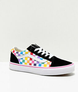 Details about Vans Old Skool Black Pink Rainbow Checkerboard Skate Shoes Youth NEW Womens