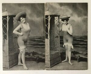 Lot-of-2-Pretty-Ladies-in-Risque-Swimsuits-at-Beach-Greetings-Postcards-a39