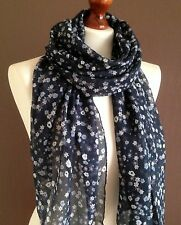 LARGE LADIES SOFT TINY FLOWERS PRINT FASHION SCARF NAVY*NEW *VISCOSE/COTTON