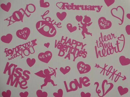 30 pc HOT PINK Valentine words heart and cupid confetti scrapbook die cuts