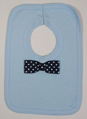 Baby Babies Boys Cotton White Blue Bow Tie Long Tie Over Head Feeding Bib Bibs
