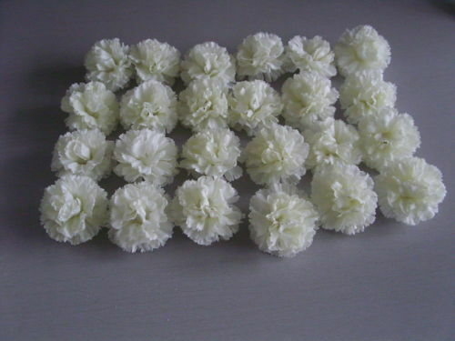 48 X IVORY CARNATION HEADS/BRIDAL/FLORIST/CORSAGE/CRAFT//WEDDING/HEADS