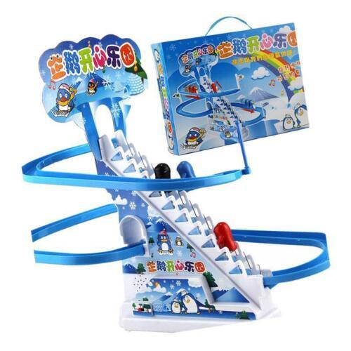 Rennbahn Set Pinguin Aufstiegs Treppen Kleinkindspielzeug mit Lichtern und