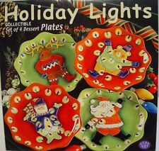 4 CHRISTMAS LIGHTS Clay Art Scalloped Plates Moose Bear Santa Snowman NIB DISC