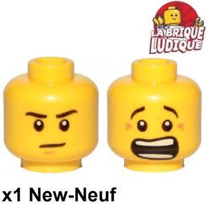 Lego 1x minifig tête head homme man voleur dent or Teeth gold 3626cpb1184 NEUF