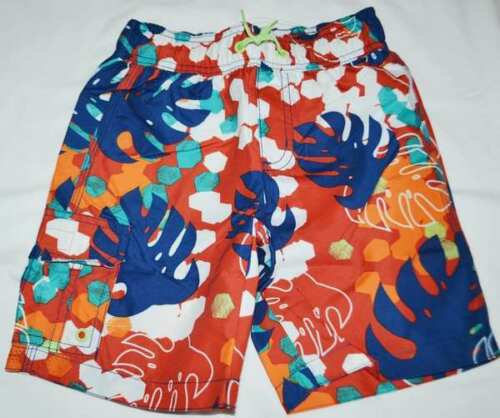 NWT Gymboree Boys Red Blue Floral Leaf Swim Swimsuit Trunks Size 4 /& 5