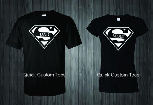 Papa et maman T-Shirts Superman Logo couples Design Cute Nice Cool nouveau match